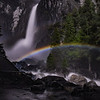 035 Lower Yosemite Falls in the light of the full moon with a Moon Bow or lunar rainbow.