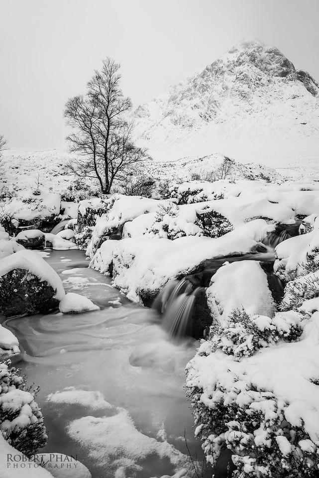 Etive Mor Waterfall Snowed Over 2