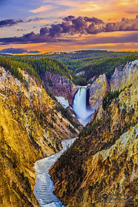 """Roche Jaune,"" Sunset over Lower Yellowstone Falls, the Grand Canyon of the Yellowstone and the Yellowstone River, Yellowstone National Park, Wyoming"