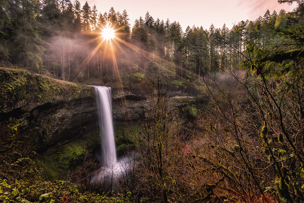 Silver Falls in the sunlight