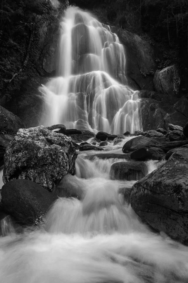 Moss Glen Falls in Black & White