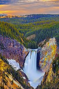 """Yellowstone's Delight,"" Sunset over Lower Yellowstone Falls, Yellowstone National Park, Wyoming"