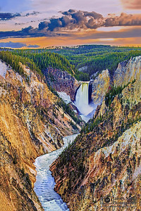 """""""Long Flow Home,"""" Lower Yellowstone Falls and the Grand Canyon of the Yellowstone at Sunset, Yellowstone National Park, Wyoming"""