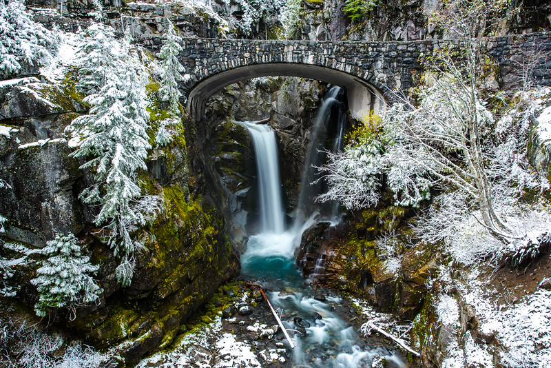 A dusting of snow at Christine Falls along the road to Paradise Mt Rainier