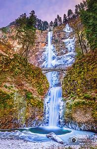 """Ice Queen,"" Multnomah Falls Winter Sunset, Columbia River Gorge, Oregon"