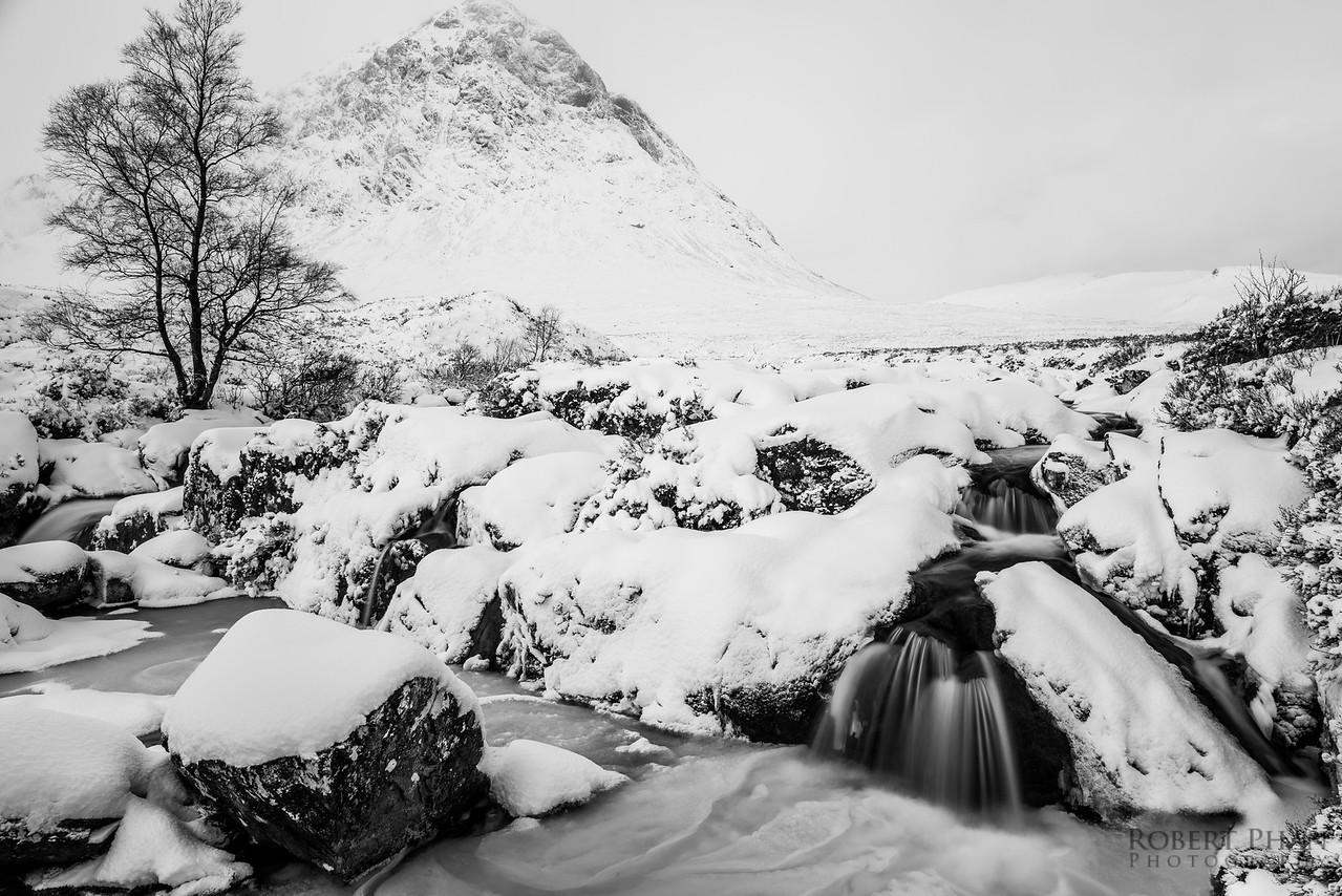Etive Mor Waterfall Snowed Over 1