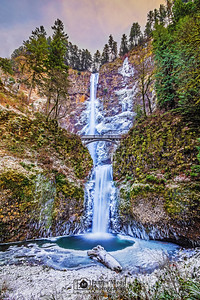 """Multnomah Icefall,"" Multnomah Falls Deep Freeze at Sunset, Columbia River Gorge"