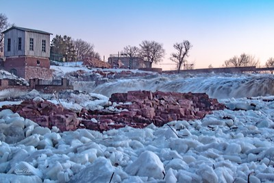 Ice at Falls Park in Sioux Falls, South Dakota.  Enjoy and hold hands.