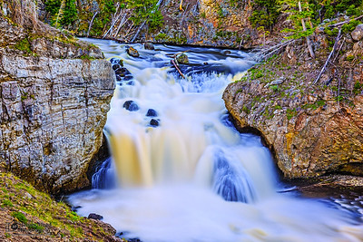 """""""Stagger Step,"""" Spring Melt over Firehole Falls, Yellowstone National Park"""
