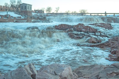 Flooding at Falls Park in Sioux Falls, South Dakota.  Enjoy and hold hands.