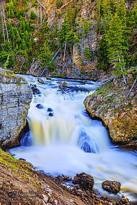 """""""Tumbling Waters,"""" Firehole Falls during spring melt, Yellowstone National Park, Wyoming"""