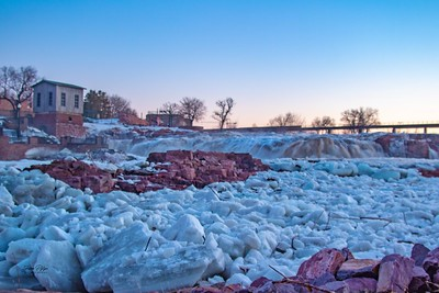 Ice chunks at Falls Park in Sioux Falls, South Dakota.  Enjoy and hold hands.