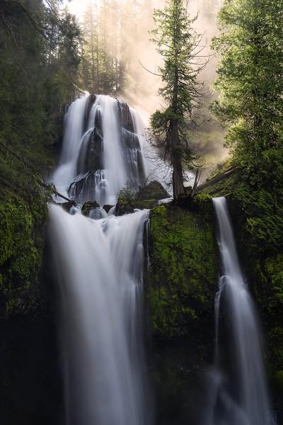 Golden light shines through mist above Falls Creek Falls, Washington