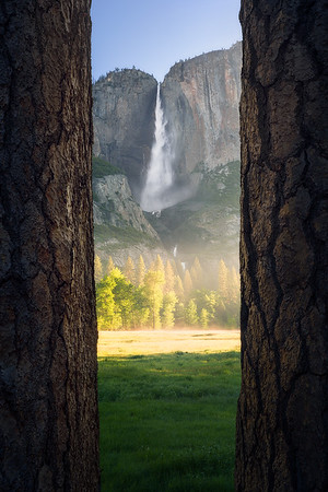 A misty morning view of Yosemite Falls - Yosemite, California