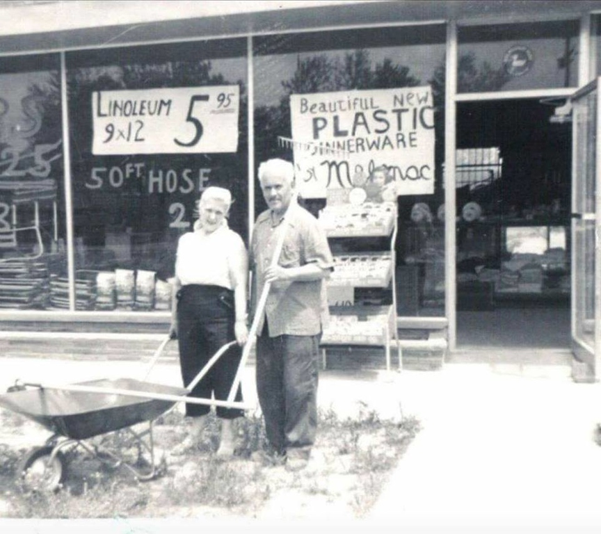 . The owners of the Dixie Bargain Mart stand in front of their business. Today it is Bedrock Express, in the Dixie Highway and Walton area, next to the Speedway gas station. It�s still owned by the same family after more than 60  years. Picture courtesy of Linda Bass.