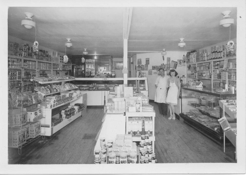 . Ruby and Clarence Grosjean, owners of Grosjeans Market, pictured here in 1946, on the corner of Williams Lake Road, Rowley and Landsdown. It has since been demolished, the land currently vacant.