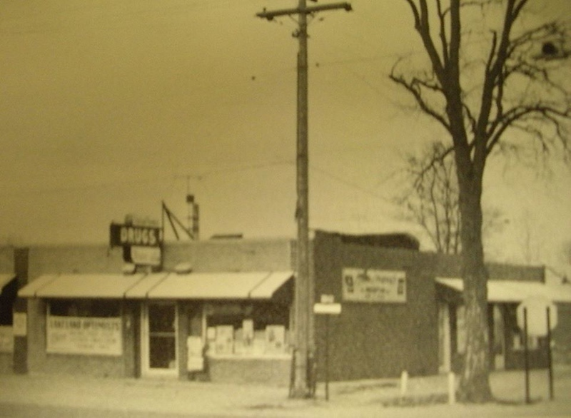 . Lakeland Pharmacy at the northeast corner of Airport Road and Hatchery, now a Guido\'s Pizza and other businesses