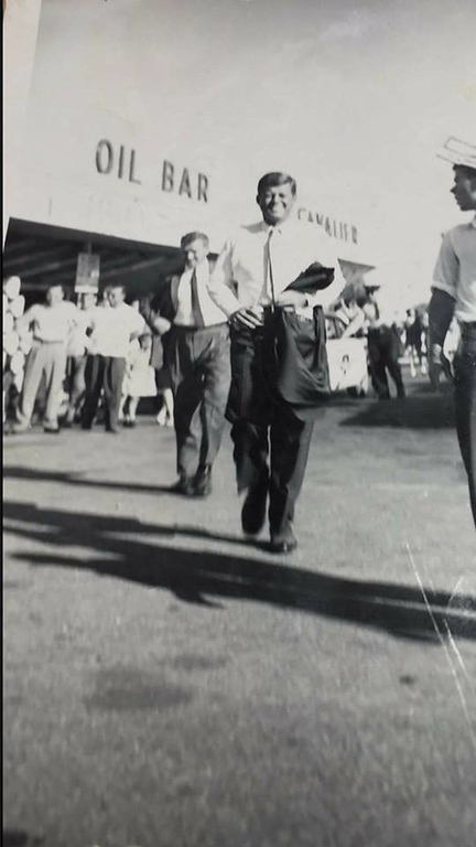 . President John F. Kennedy at the Cavalier Gas Station at Dixie Highway and Walton, which is the current location of Speedway. Picture courtesy of Linda Bass.