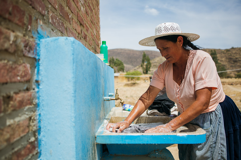 Alicia now has water to wash clothes whenever she needs to. Last year a new water system was built in her small community in Bolivia, so the families there no longer have to spend hours each day walking for water.