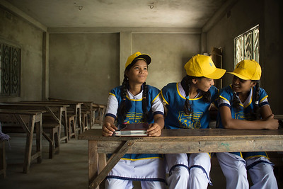 These girls in West Bengal, India are leaders for their school's sanitation club.