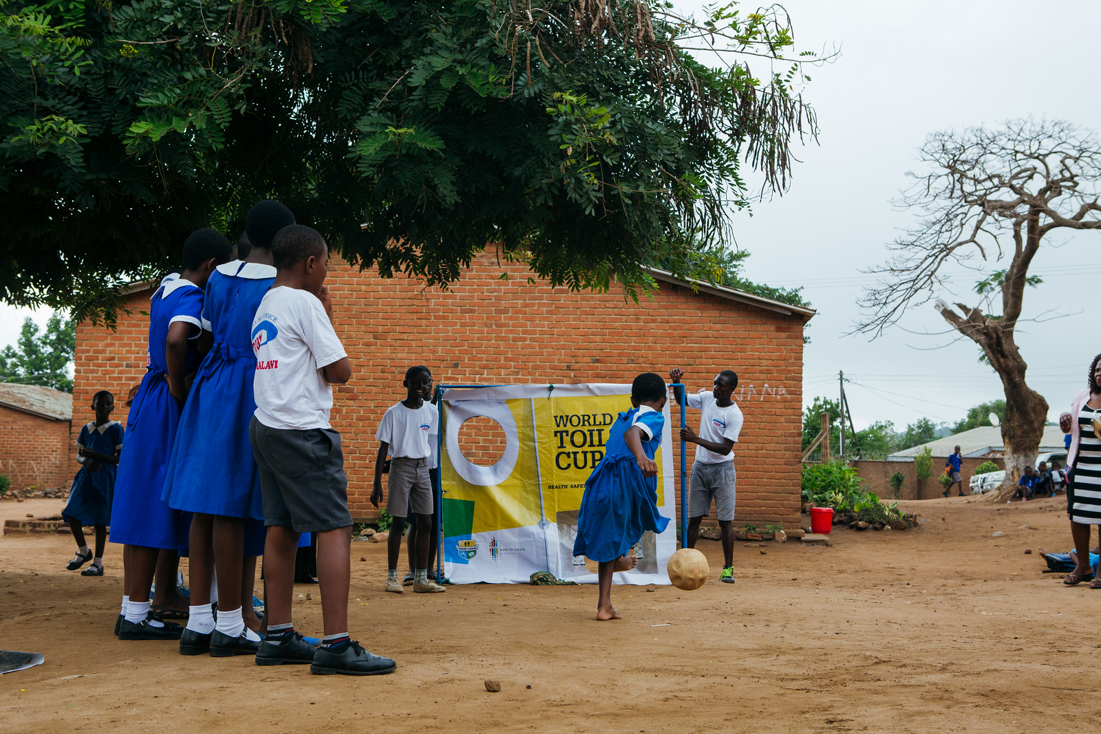 Students in Blantyre, Malawi compete in their World Toilet Cup. To help students use their facilities correctly, we have implemented innovative game-based education programs in schools.