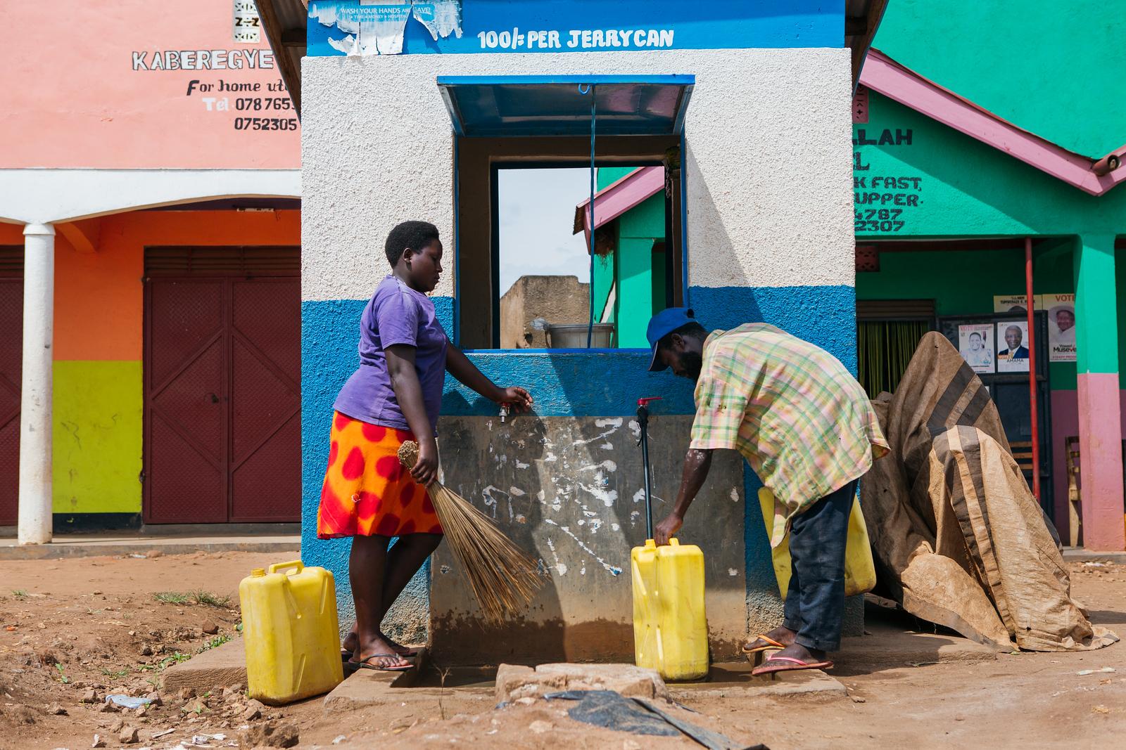 A community water kiosk in Kamwenge, Uganda.