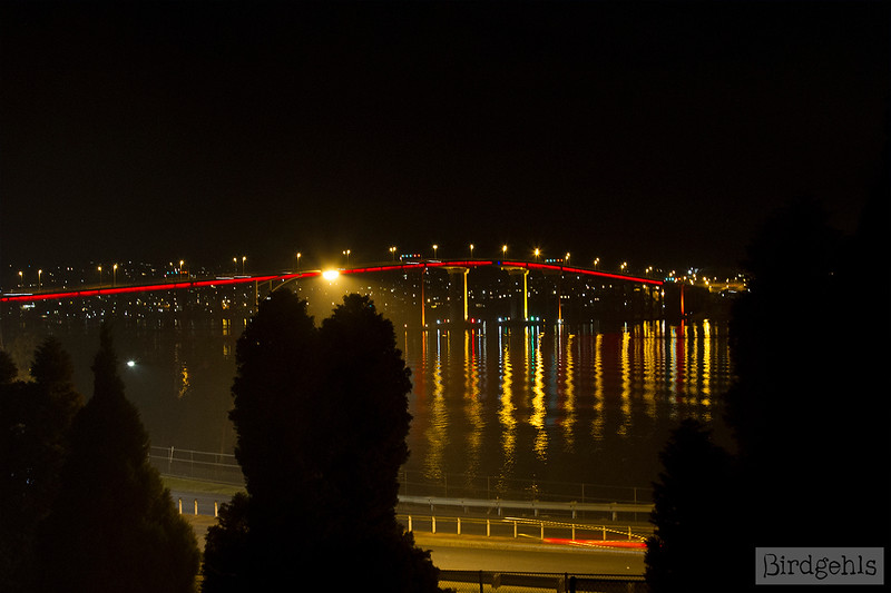 tasman bridge night