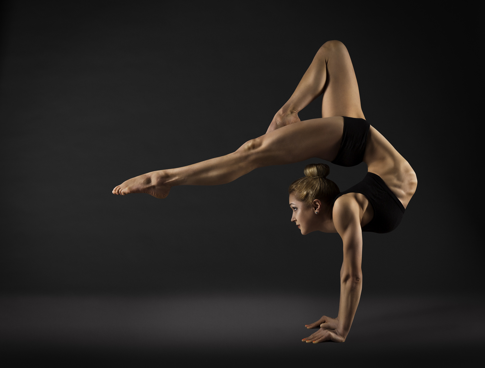 Acrobat Performer, Circus Woman Hand Stand, Gymnastics Back Bend Pose