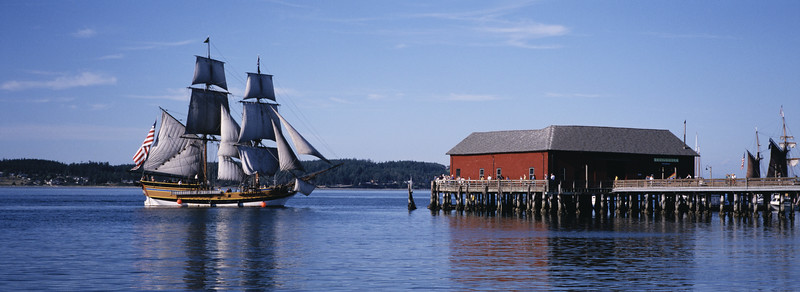 Arrival: Lady Washington approaches the Coupeville Wharf.