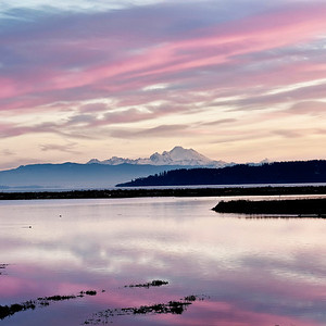 Race Lagoon Dawn: morning scene of Mt. Baker from Whidbey Island's Race Lagoon.