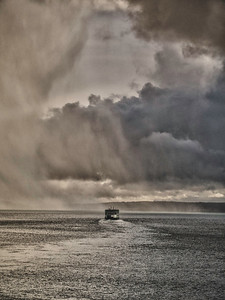 Salish Sails into Snow: departing Coupeville terminal as a snow cell moves across Admiralty Inlet.