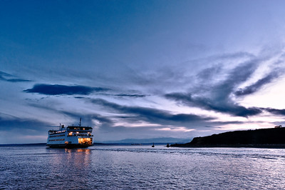 Chetzemoka Evening: the Washington State ferry Chetzemoka leaving the Coupeville terminal next to Fort Casey State Park on Whidbey Island.