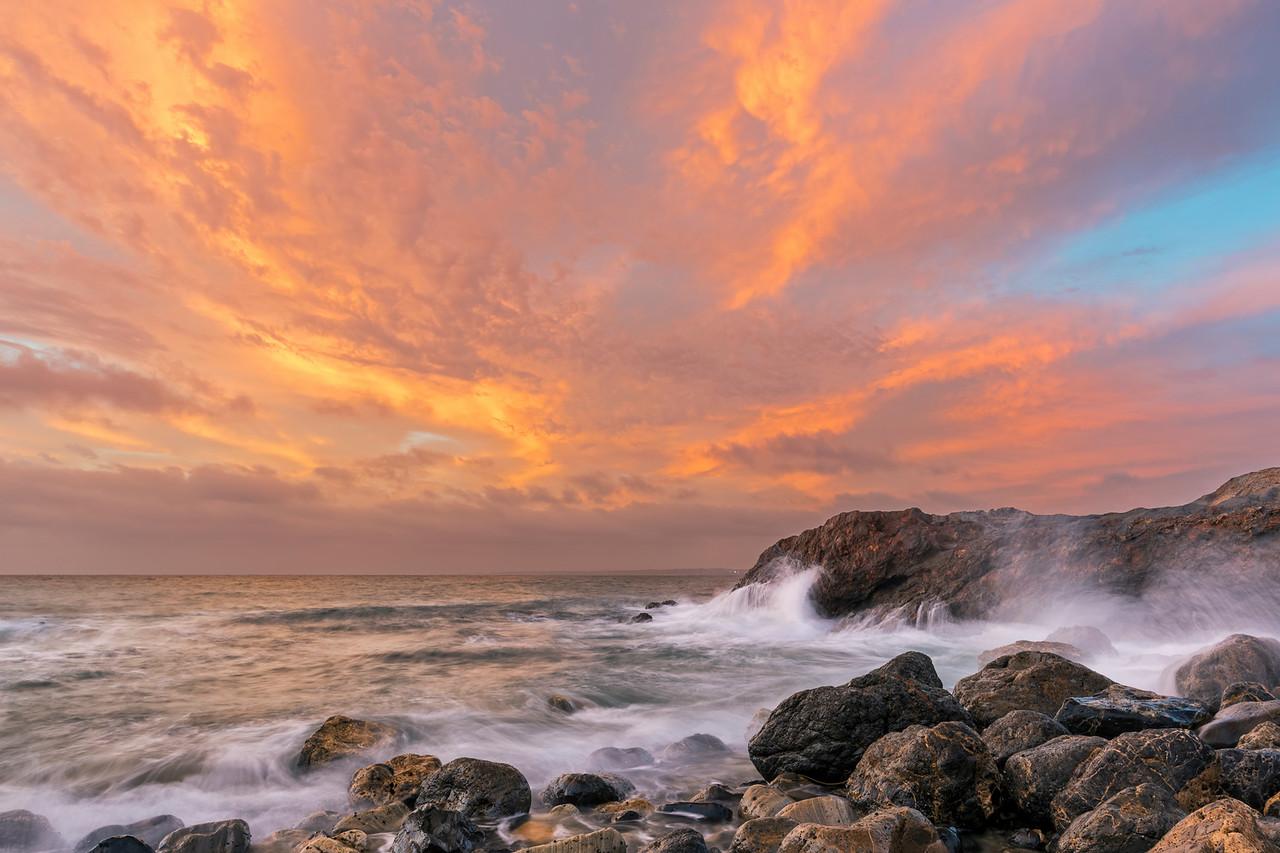 Fire sunset, Flat Rock point Palos Verdes