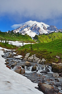 Stream and Mt. Rainier, Mt. Rainier National Park, Washington