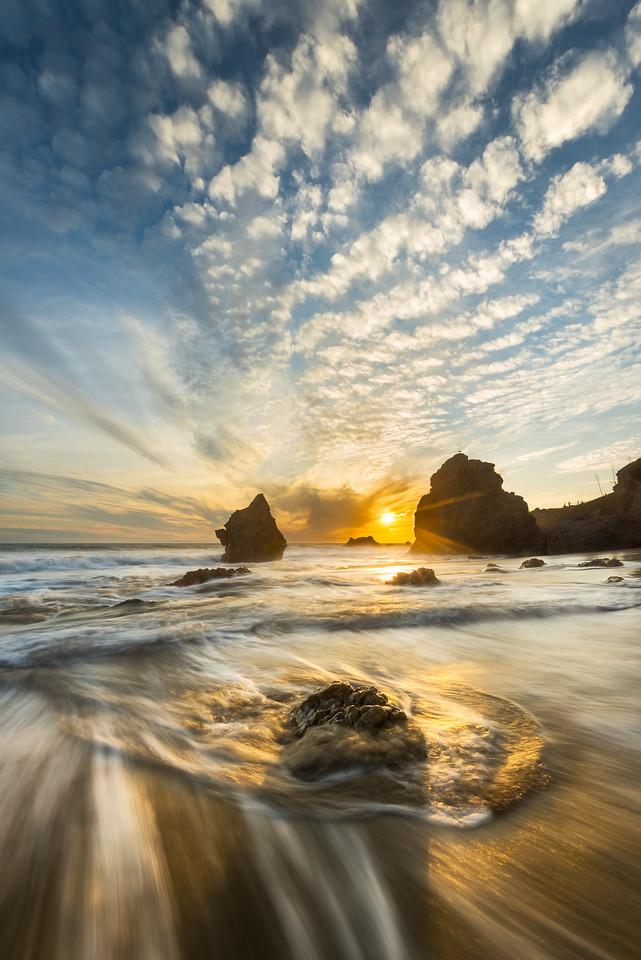 Golden Hour Malibu sunset, El Matador beach