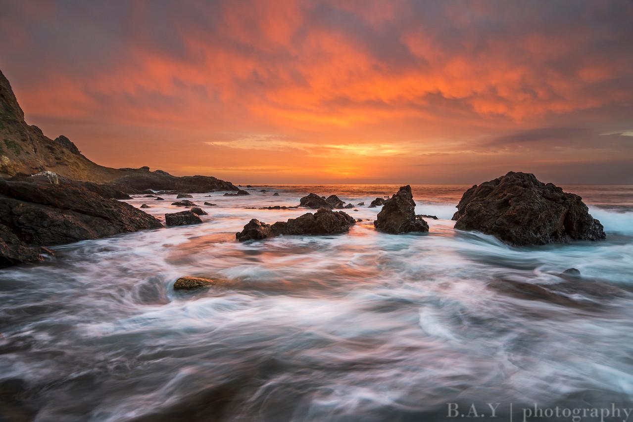 High tide seascape at sunset in Palos Verdes
