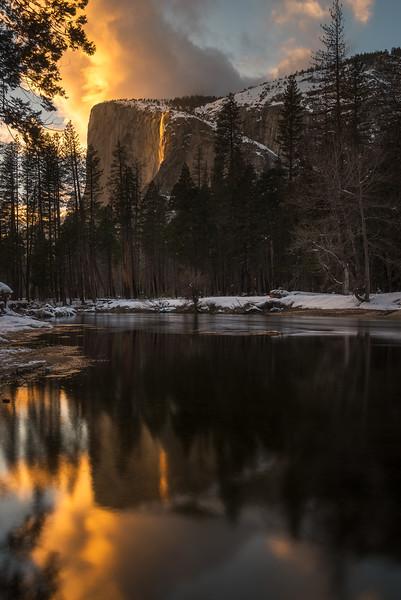 Yosemite Firefall reflected in Merced river