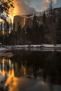 Yosemite Firefall reflected in Merced river