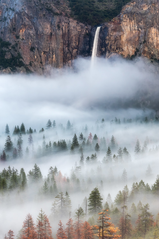 Bridalveil falls into fog, Yosemite National Park