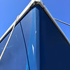 Blue boat, looking up