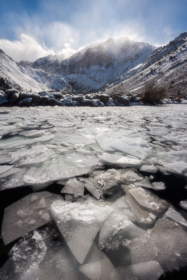 Convict Lake ice shards and snow storm