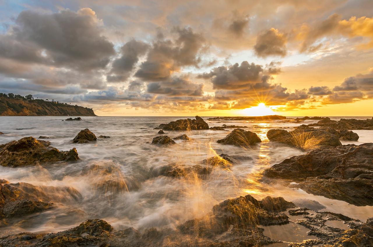 Palos Verdes seascape sunset with wave splashes