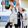 Mariah Gonzalez shoots for Watkins Glen, Saturday, March 11 at TC3 in the state regional game. Photo by Don Romeo.