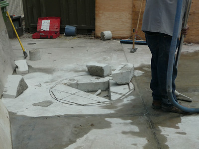 This is where we will pour the new concrete pedestal for the fountain.