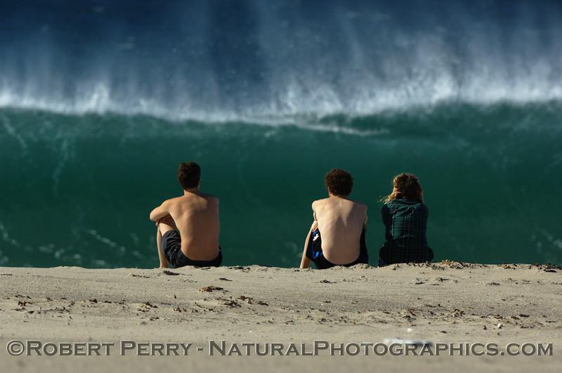 people on beach watch Wave offshore wind 2007 10-22 Zuma -- 513