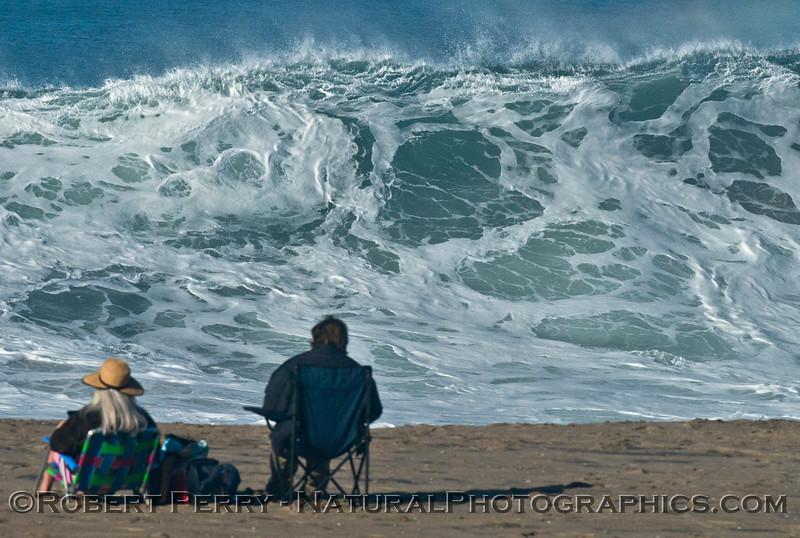 Pull up a beach chair and enjoy the view - Hurricane Marie storm surf pounds Zuma Beach  - Malibu
