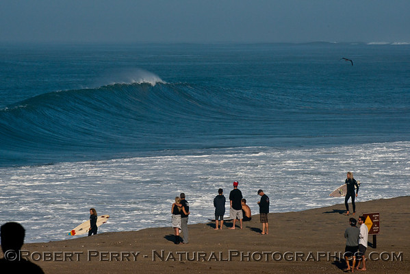 Mugu Rock, looking west towards Naval Base Ventura - note the extreme south angle of incoming wave from Hurricane Marie