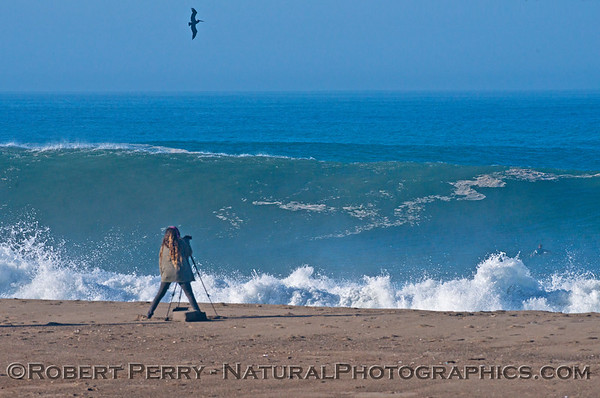 A photographer clicks as Hurricane Marie storm surf pounds Zuma Beach - Malibu