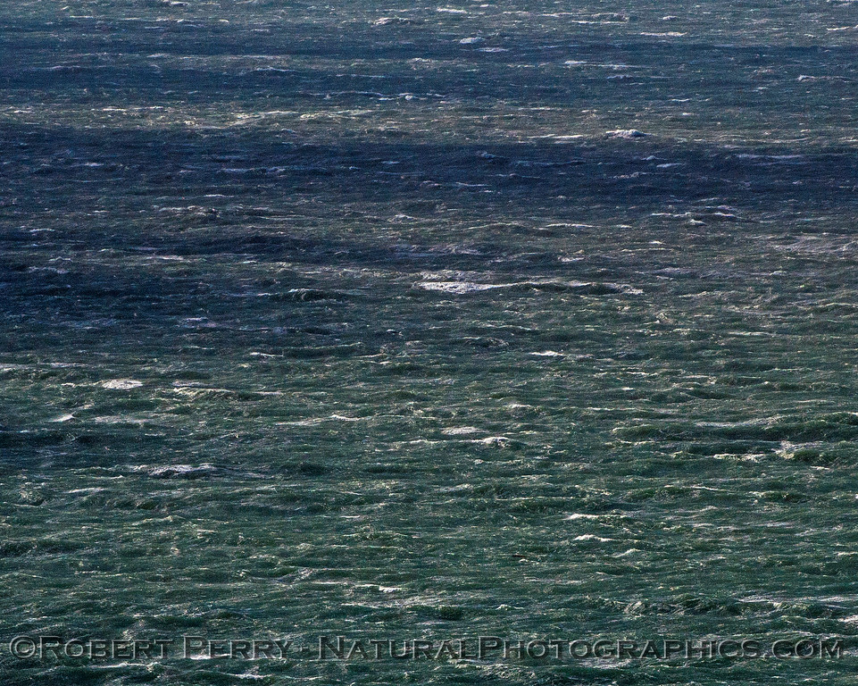 Gale winds, rough seas, cloud patterns on sea surface.