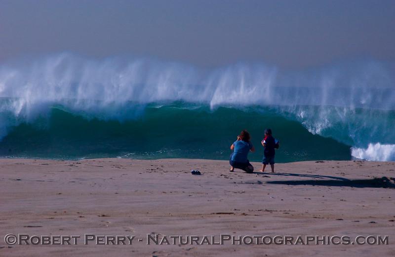 Mom and boy watch Big Waves surf 2007 12-05 Zuma - 1096modSMALL